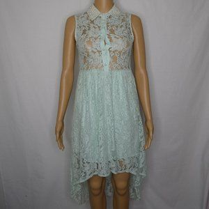 Alythea High Low Floral Lace Pearl Dress Mint SM